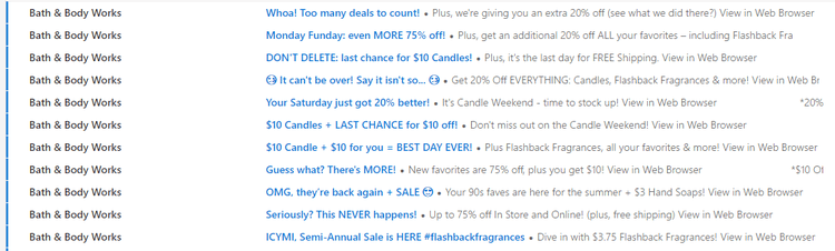 Bath and Body Works Emails