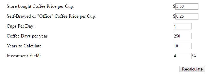 Coffee Budget Calculator