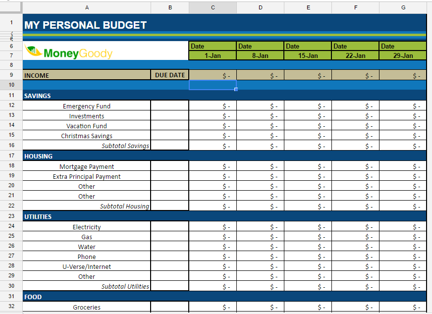 Personal Budget Spreadsheet | Free Monthly Budget Spreadsheet Money Goody